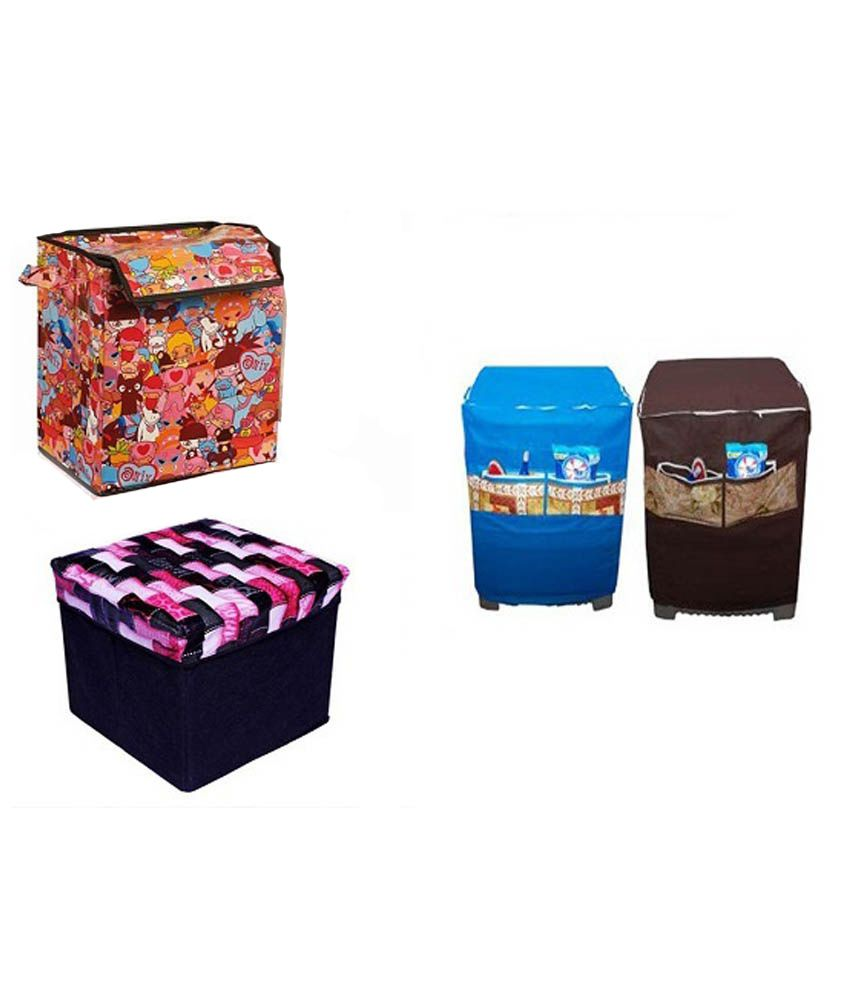 Galaxy Decorations Textured Fabric Laundry Bag And Storage Stool Combo