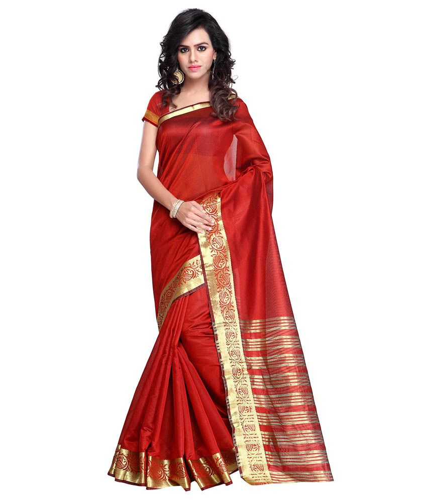 Prafful Red Cotton Saree