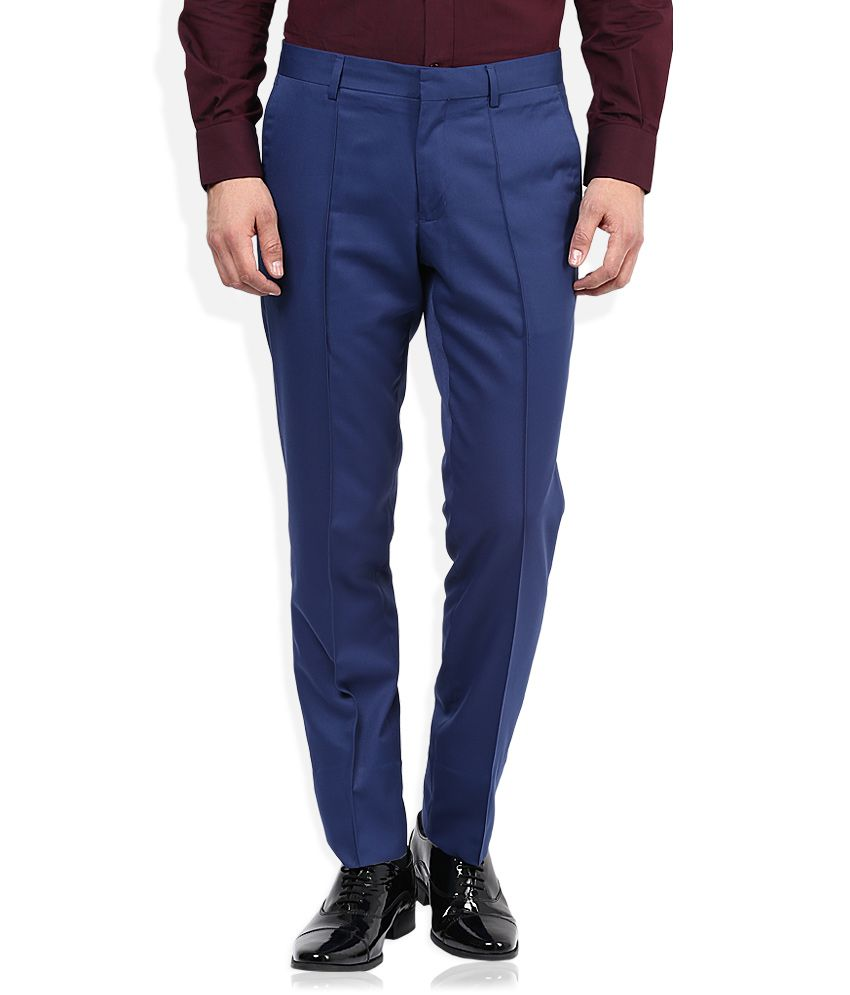 John Players Blue Solid Pleated Front Trousers