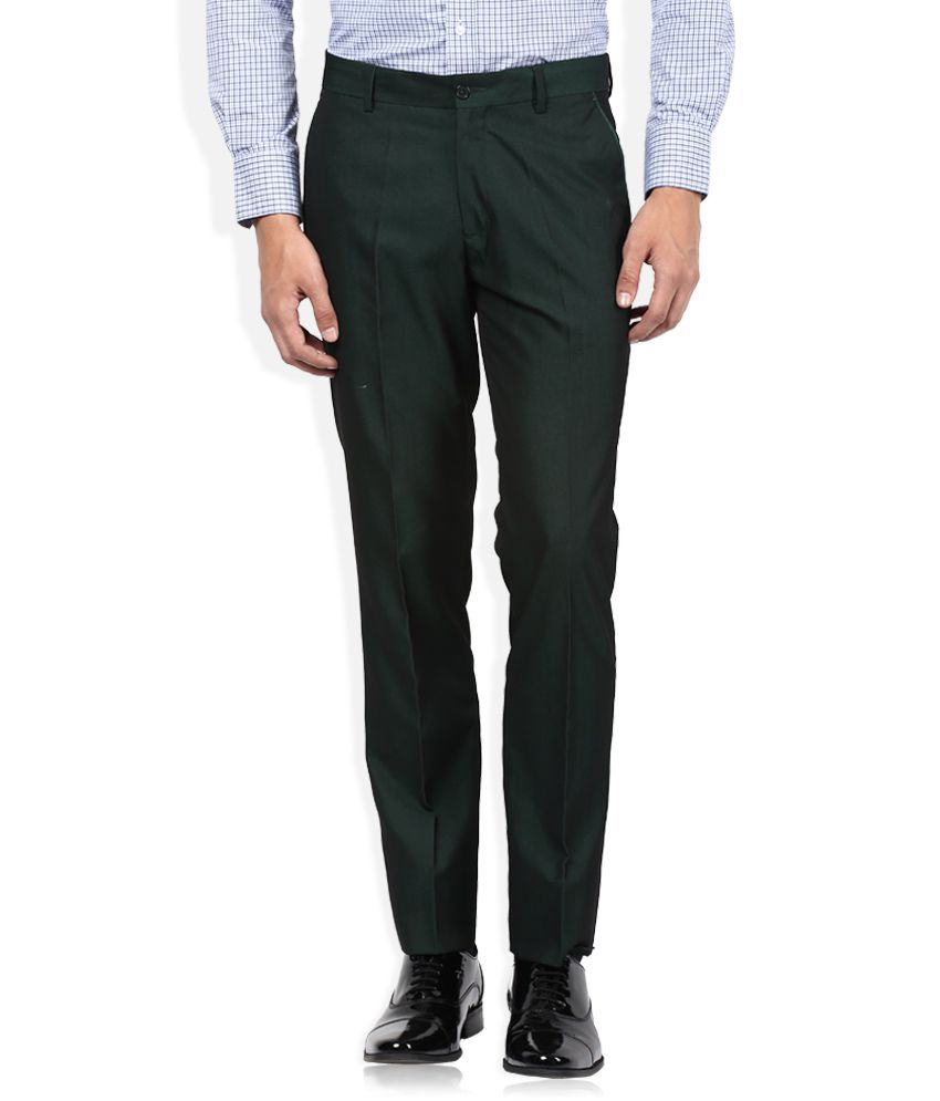 John Players Green Slim Fit Formals Flat Trousers