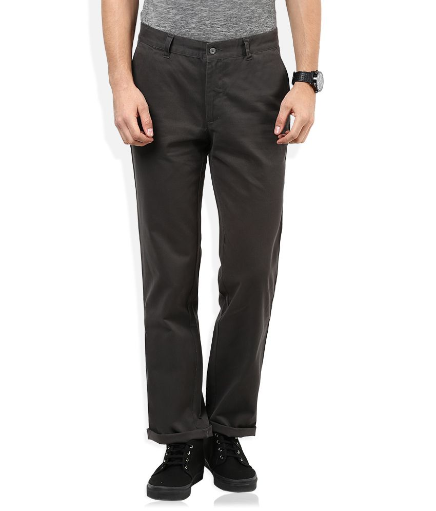 John Players Grey Regular Fit Casuals Chinos