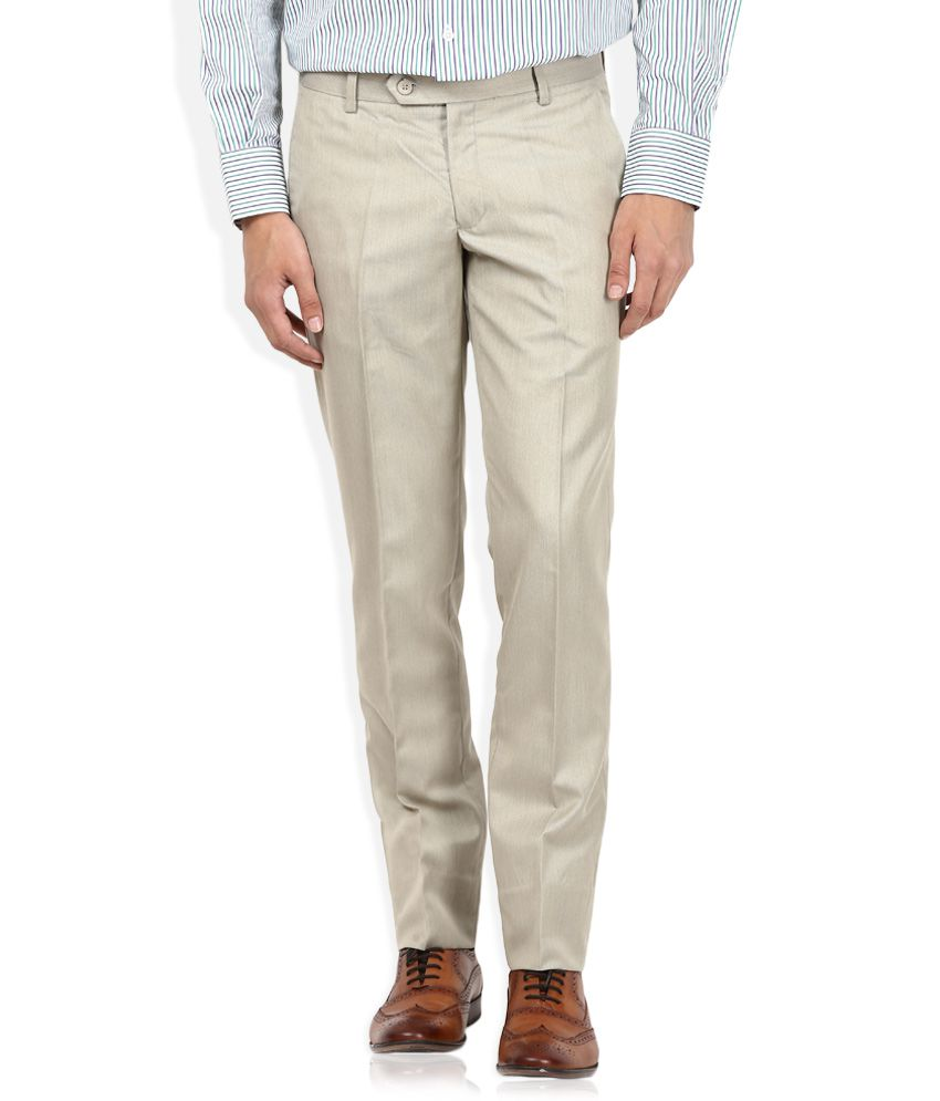 John Players Off White Solid Flat Front Trousers