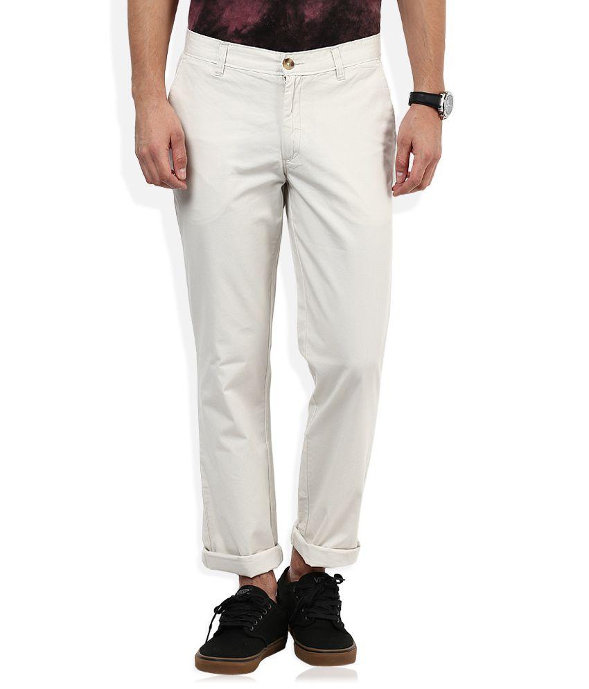 John Players White Casual Trouser