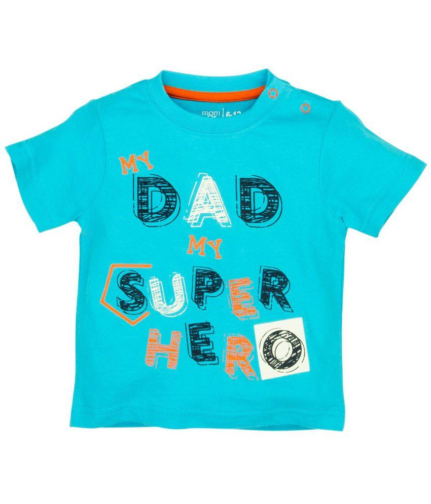 Mom & Me Blue & Orange Printed Half Sleeve baby tshirt
