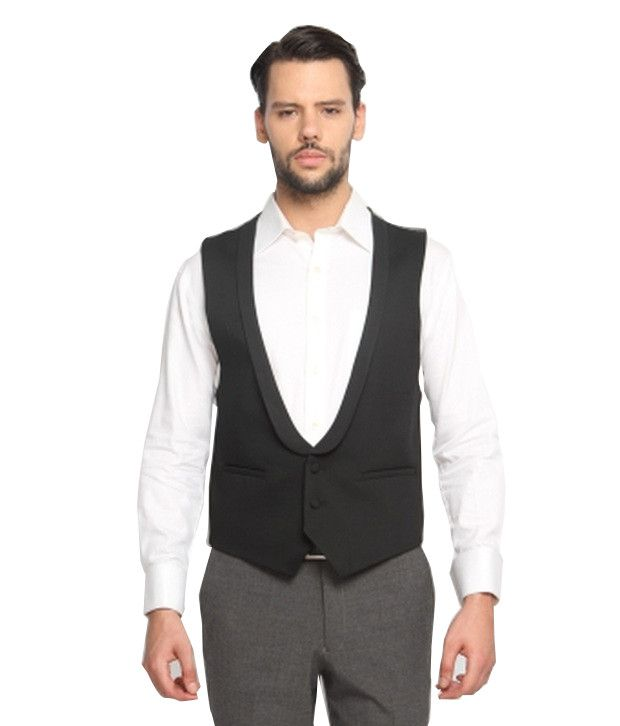 SUITLTD Black Solid Extreme Slim Fit Waistcoat