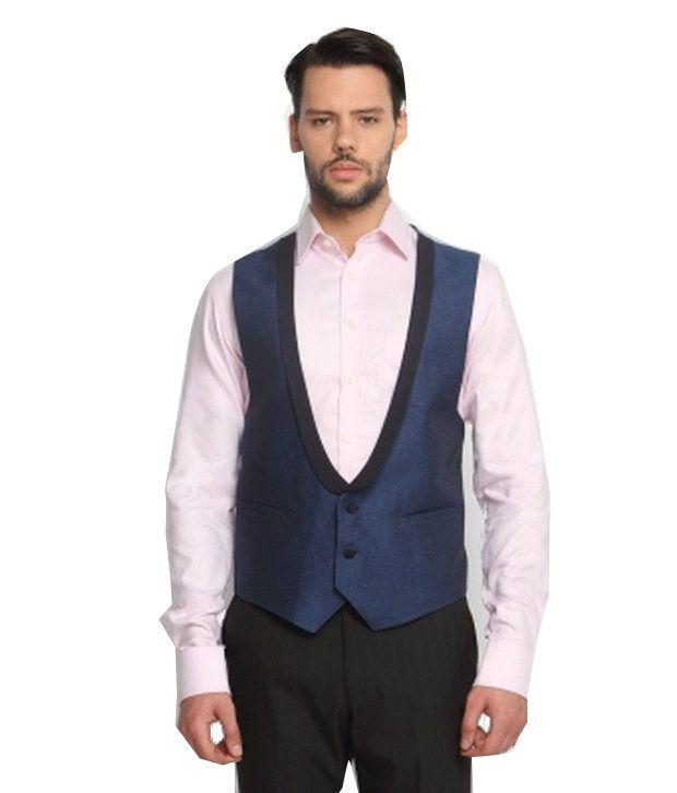 SUITLTD Blue Solid Extreme Sim-Fit Waistcoat
