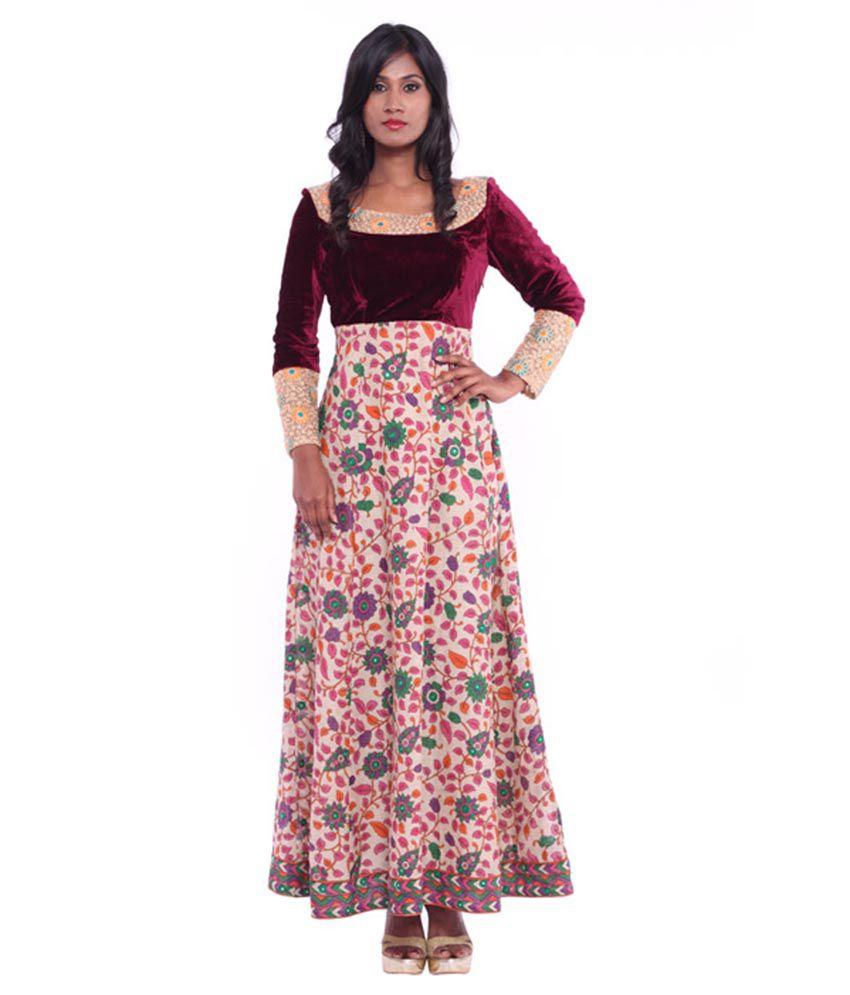 Soucika Maroon Chanderi Stitched Suit