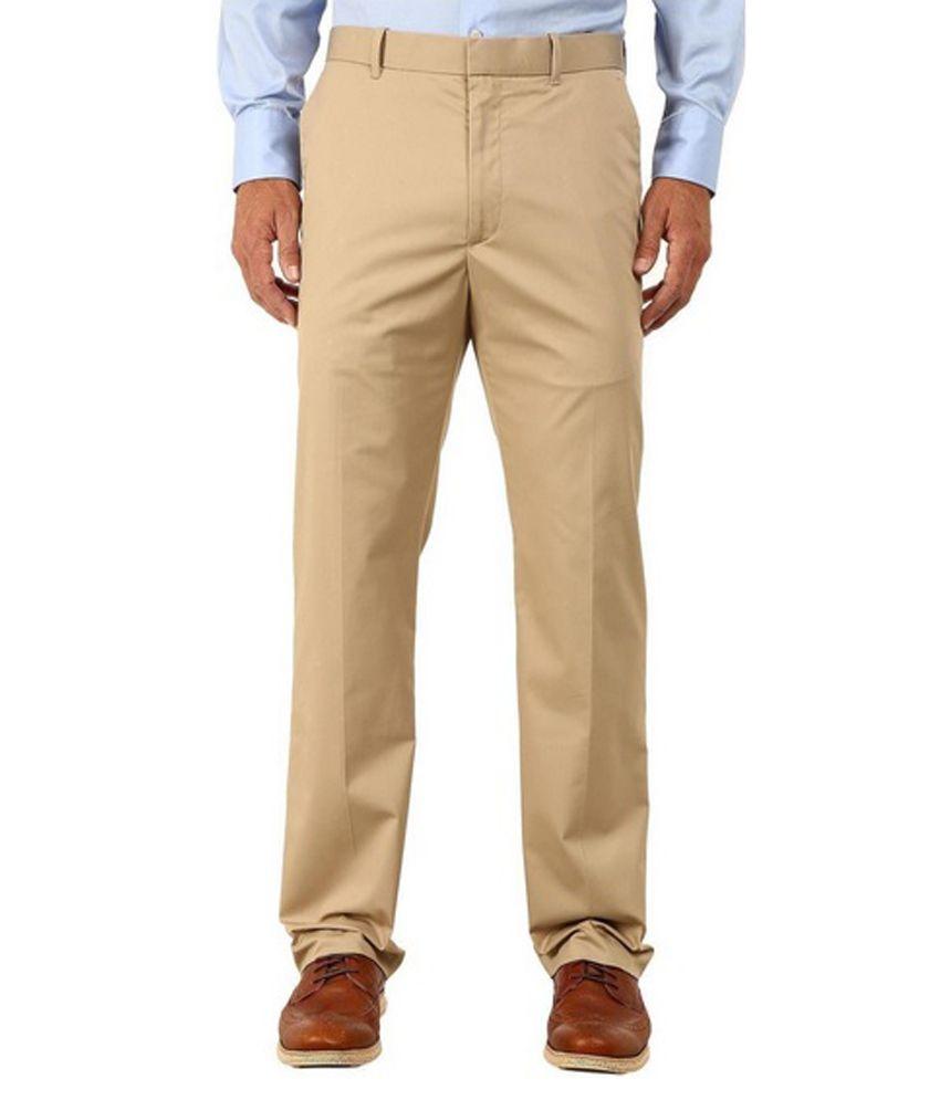 Patloon Beige Slim Fit Casual Flat Trouser