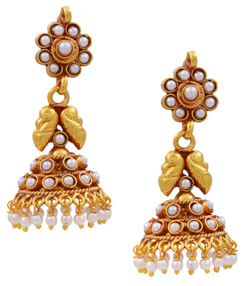 Pitti Jewels&Pearls White Copper Jhumkis