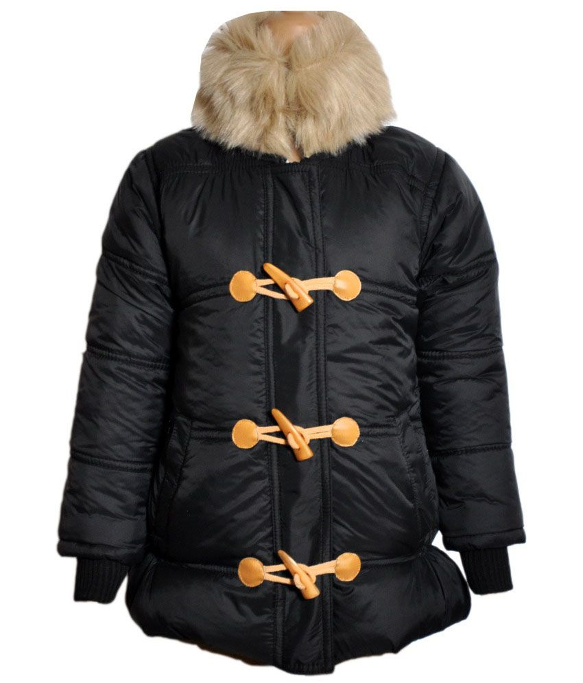 Come In Kids Black Acrylic Padded Jacket With Hood