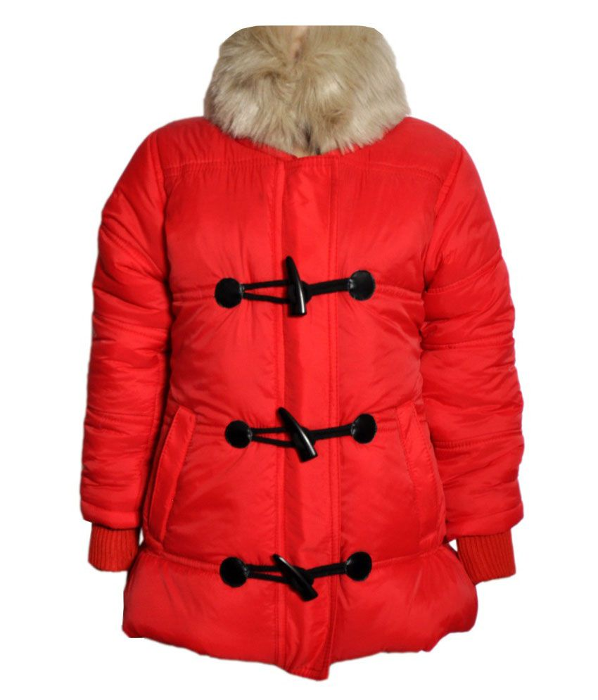Come In Kids Red Acrylic Padded Jacket With Hood