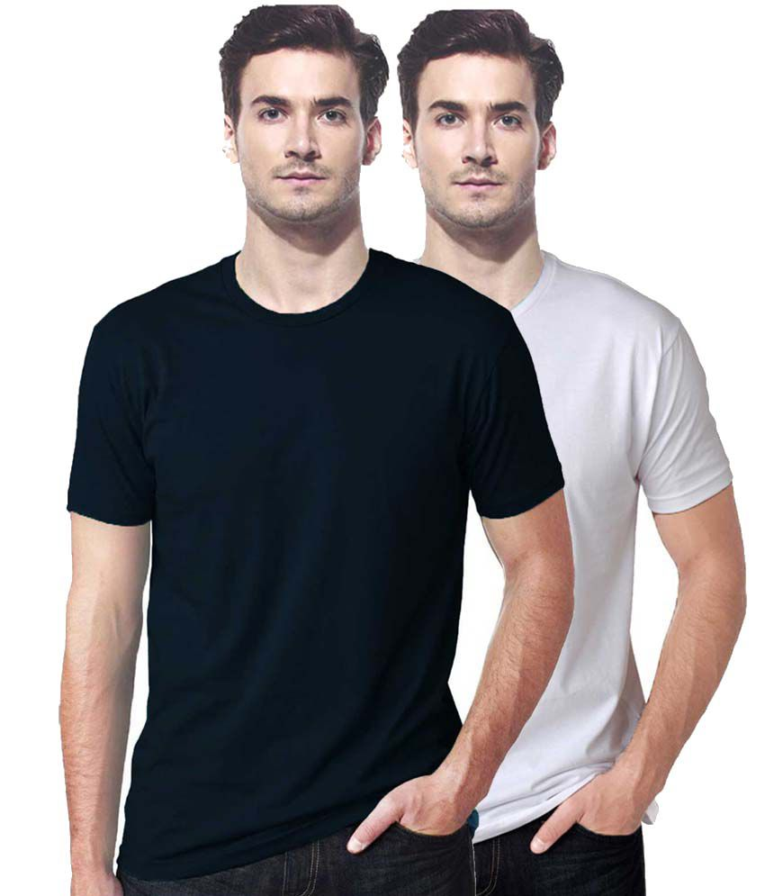 Gallop White and Black Cotton T-Shirts- Pack of 2
