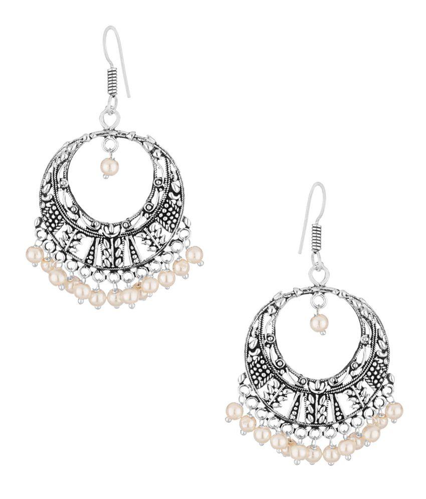 Voylla Silver Hoop Earrings