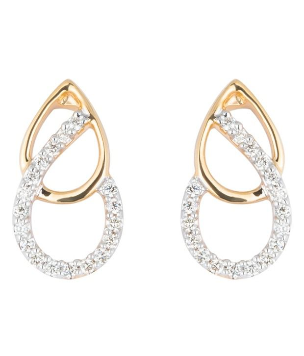 Wite&gold 18kt Yellow Gold Studs