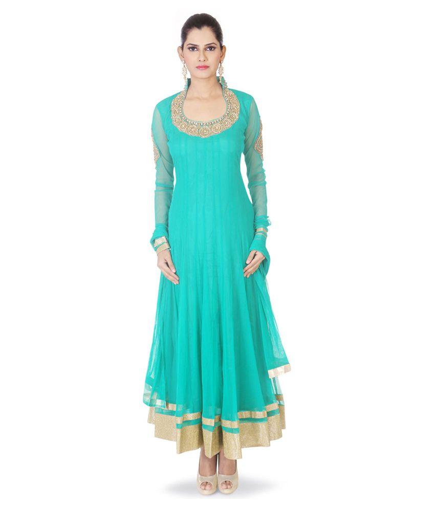 Aishwarya Design Studio Green Net Stitched Suit