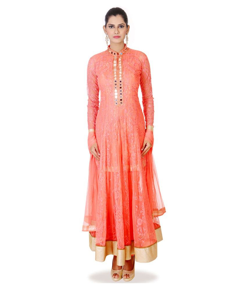 Aishwarya Design Studio Pink Net Stitched Suit