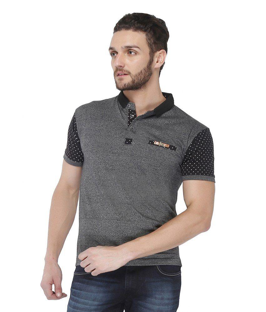 Jazzup Black Cotton Round Neck T Shirt