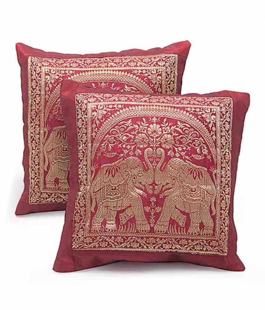 Diti Enterprises Red Contemporary Polyester Cushion Covers Set Of 2