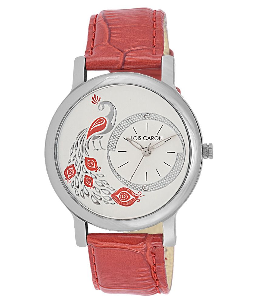 Lois Caron Lois Caron Red Strap Casual Watch