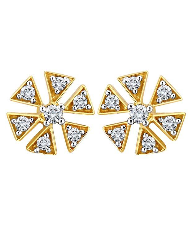 Myzevar Trekant 14kt Diamond Gold Stud Earring