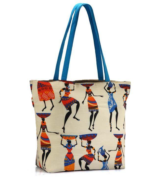 Saffron Craft Blue Jute Shoulder Bag