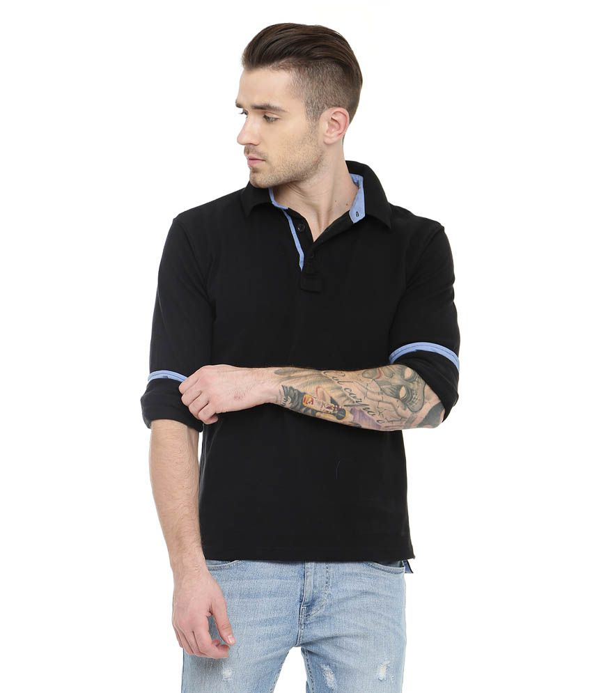 c8d5a9a80 Gritstones Black Full Sleeve Solid Polo T-shirt - Buy Gritstones Black Full  Sleeve Solid Polo T-shirt Online at Low Price - Snapdeal.com