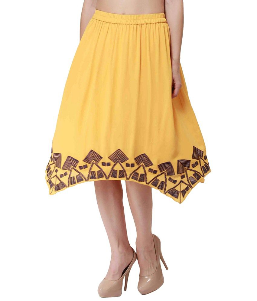 Nineteen Yellow & Purple Embroidered Midi Skirt