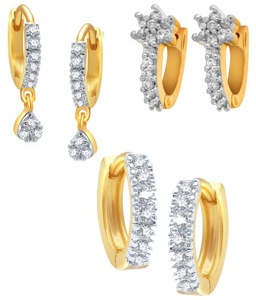 Jewels Gehna Golden American Diamonds Earrings - Set Of 3
