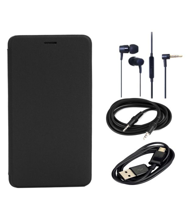 Romito Flip Cover For Intex Aqua Sense - Black With Data Cable, Aux Cable And Handfree Earphones