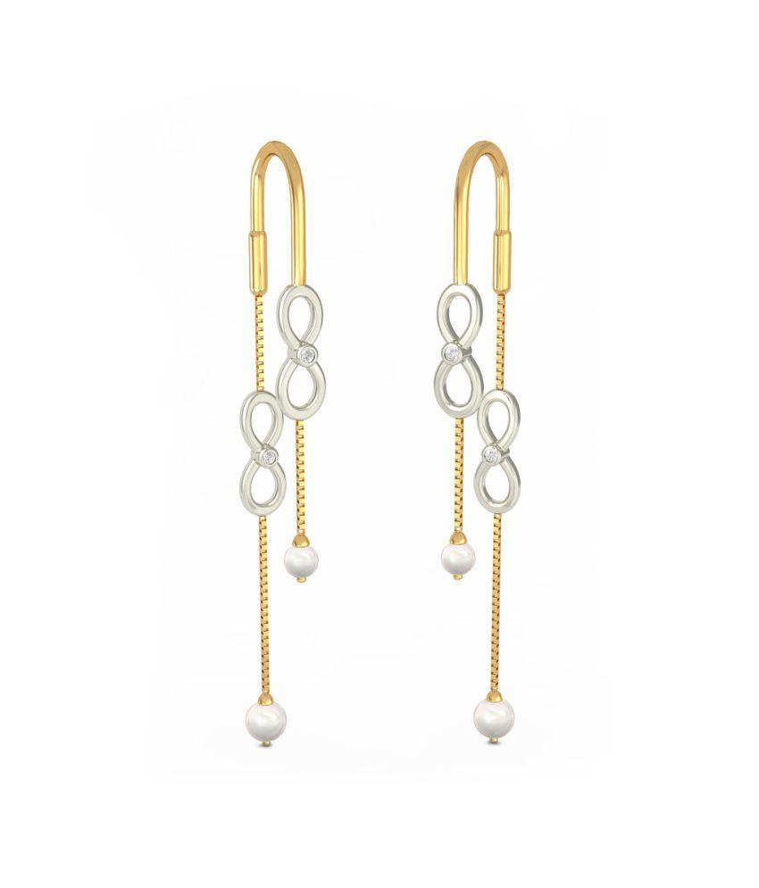 BlueStone 18kt Yellow Gold Diamond & Pearl Infinite Sync Earrings