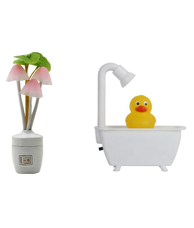 Catchin24 0.5w Off-white Square Virgin Plastic Combo Of Duck Led Night Lamp & Mushroom Socket