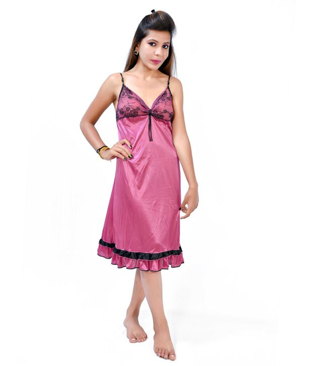 90f486ef18eef Fashion Zilla Marjenta Satin Backless Short Nighty Set Of 1 Price in India