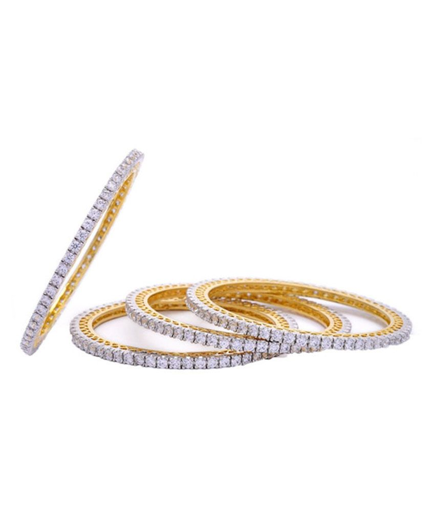 Jewels Gehna Golden American Diamond Bangles