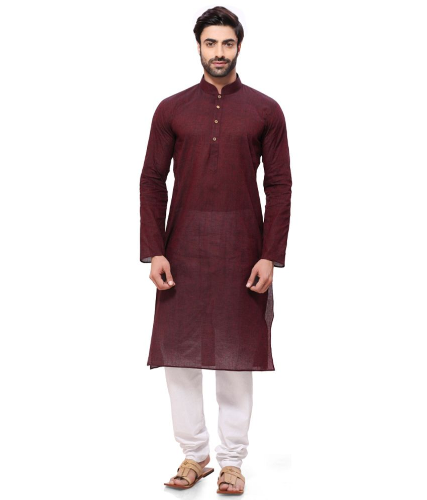 Rg Designers Maroon Festive Cotton Long Kurta Pyjama Set
