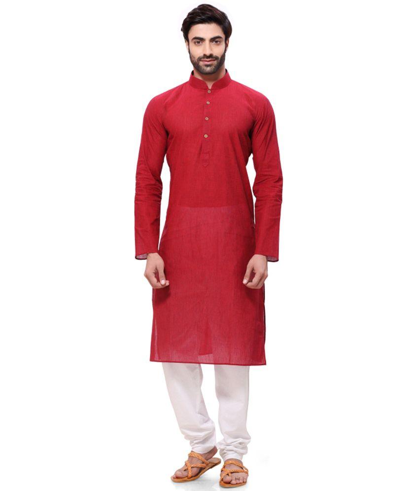 Rg Designers Red Festive Cotton Long Kurta Pyjama Set