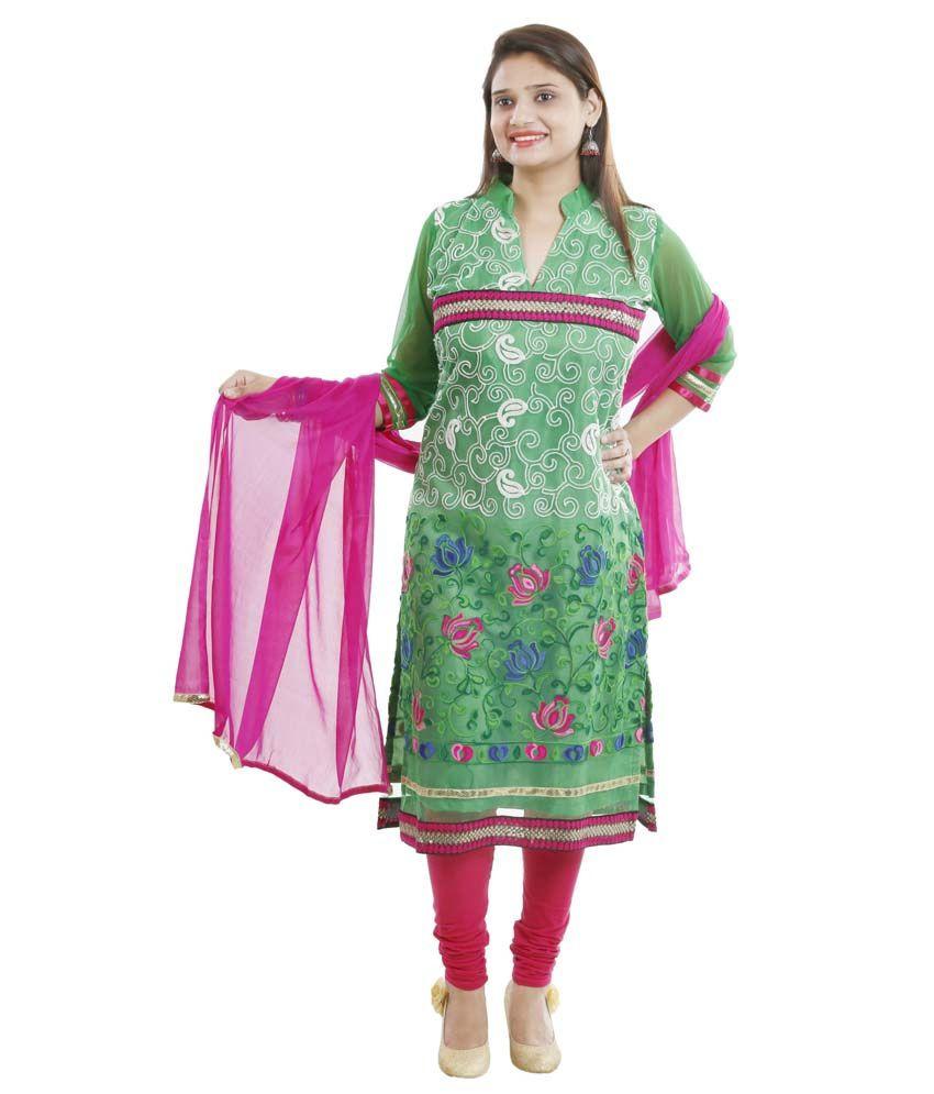 Vandy Crafts Green Net Stitched Suit