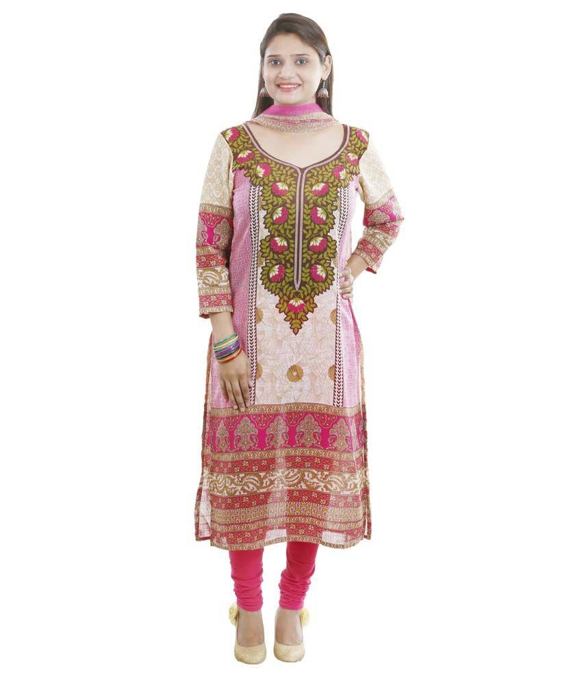 Vandy Crafts Pink Cotton Stitched Suit