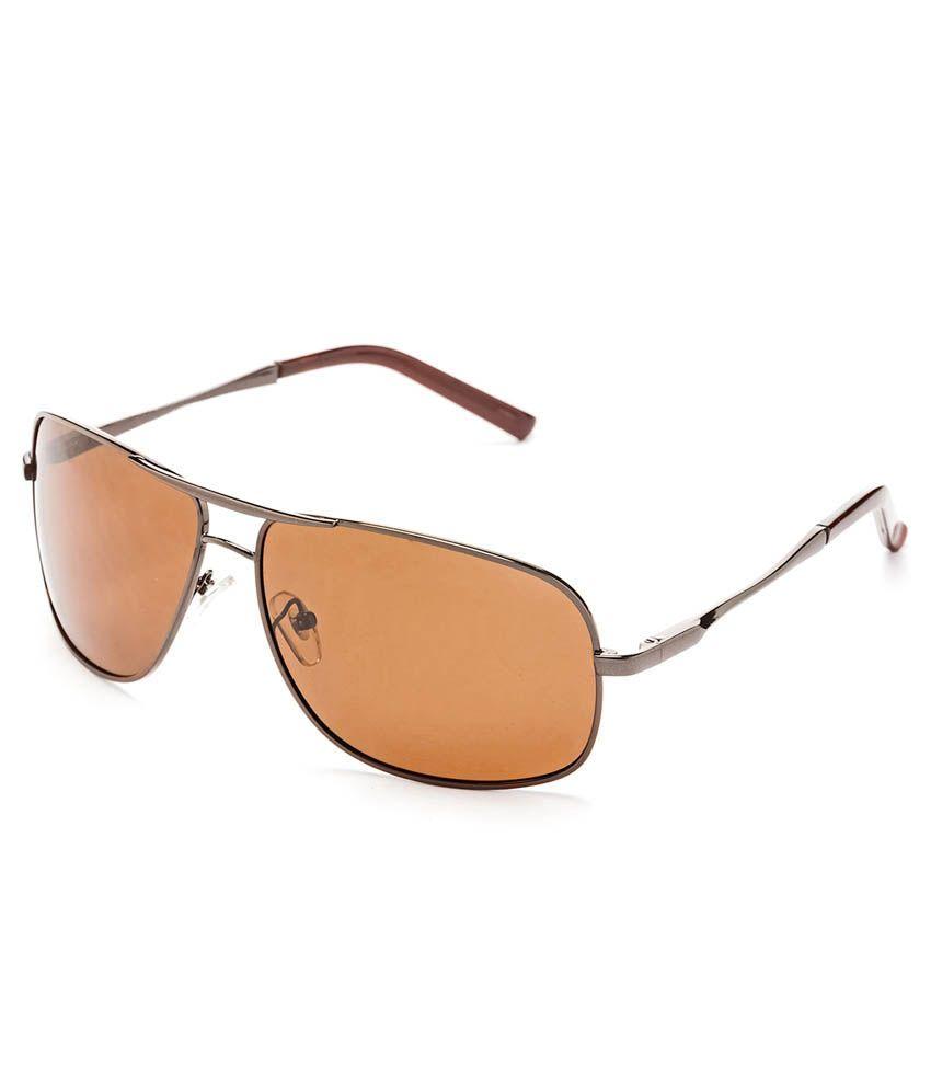 Hrinkar Polarized Brown Rectangle Sunglass For Unisex