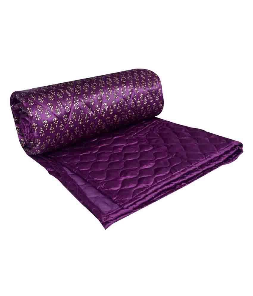 Jaipuri Razai Purple Satin Embroidery Quilt