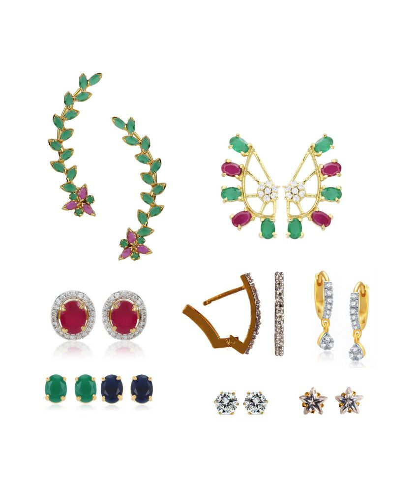 Archi Collection Multicolour Alloy Earrings Combo Of 9