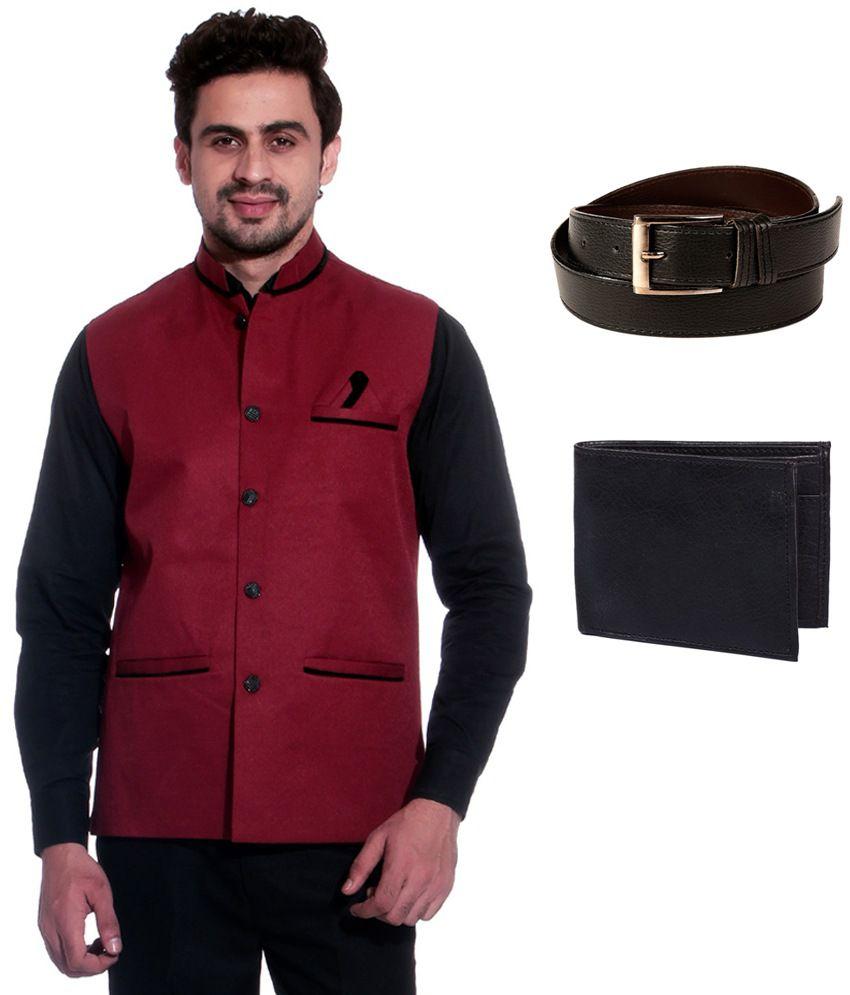 Calibro Maroon Sleeveless Nehru Jacket with Belt and Wallet Combo