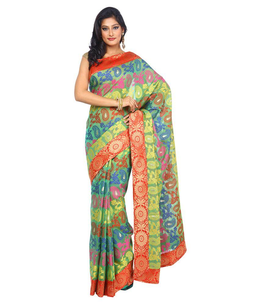 Kataan Bazaar Multicolour Net Saree