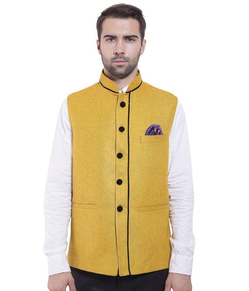 Wintage Yellow festive Waistcoats