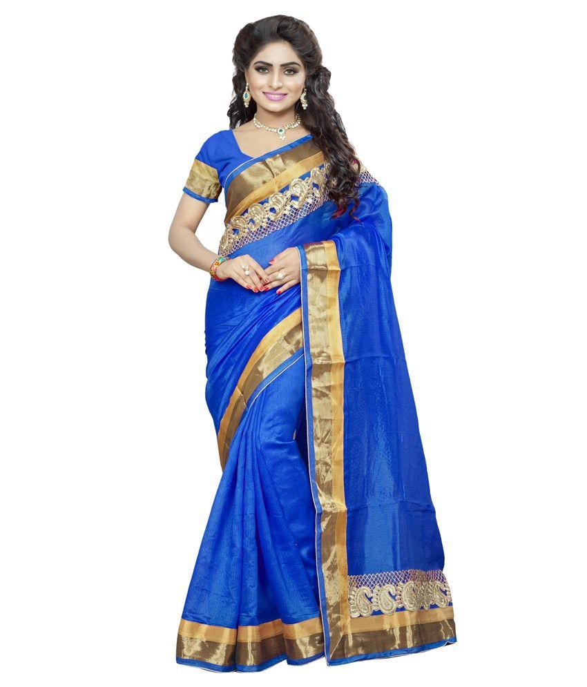 Khodiyar Blue Bhagalpuri Silk Saree
