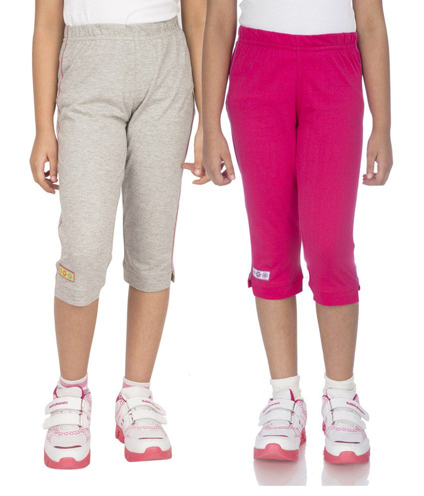 Ocean Race Pink & Grey Cotton Capri Set Of 2