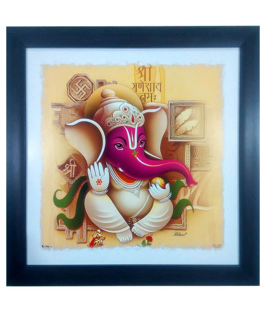 Trends on Wall Multicolour Ganpati Painting