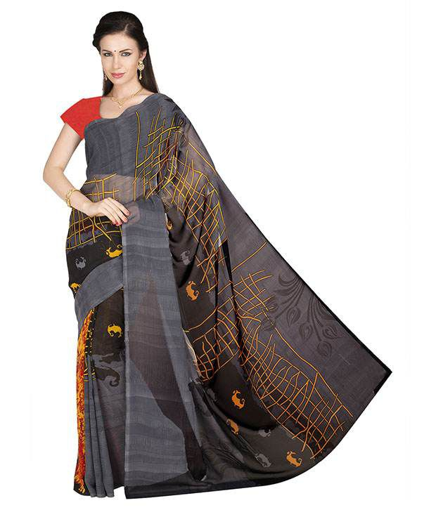 Ishin Black Faux Georgette Saree  available at snapdeal for Rs.317