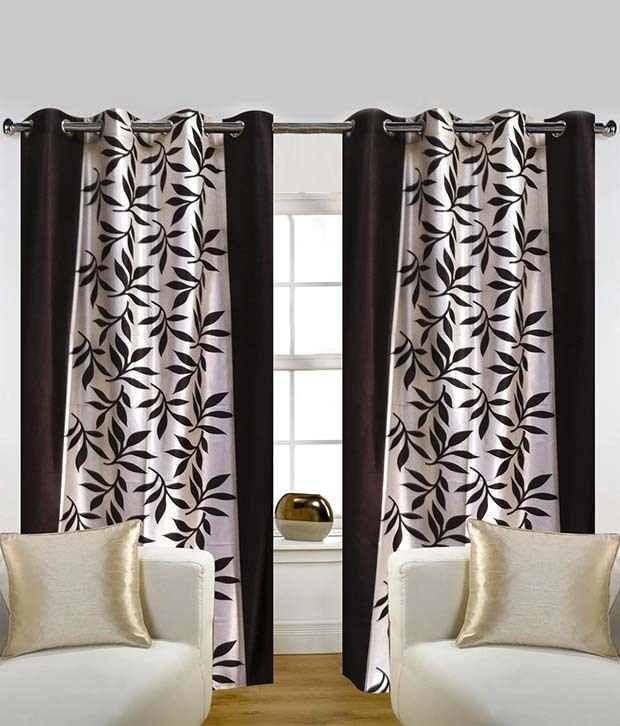 Tanishka Fabs Set of 2 Door Eyelet Curtains Floral Black