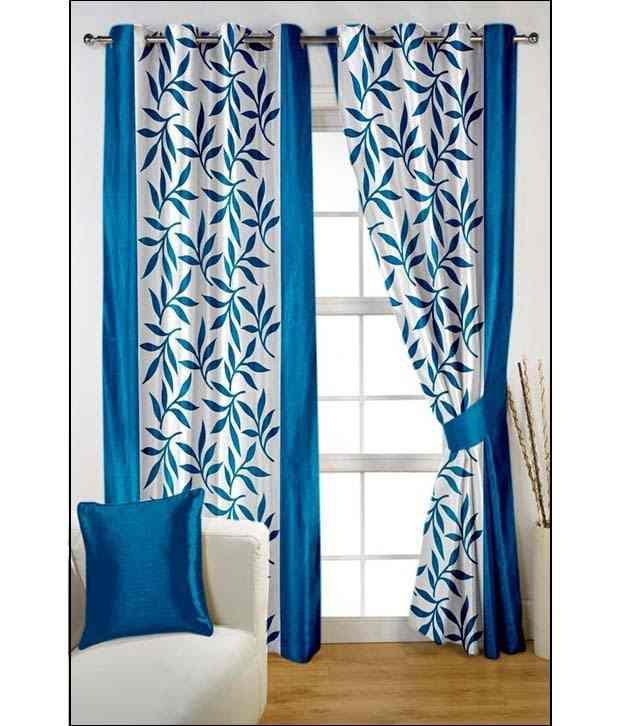 Tanishka Fabs Set of 2 Door Eyelet Curtains Floral Blue