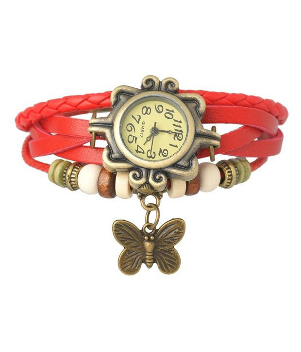 Felizo Red Leather Vintage Style Bracelet Watch for Women